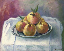 Henri Manguin. Peaches on a white tablecloth