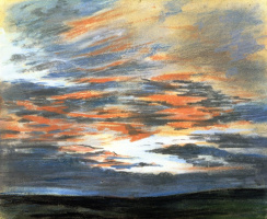 Eugene Delacroix. Reflections of sunset in the sky