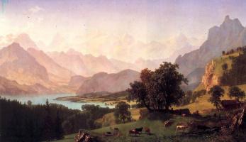 Альберт Бирштадт. Бернские Альпы. Пейзаж с пасущимся стадом