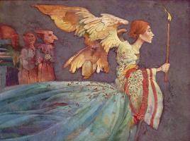 James Christensen. Angel and three demons