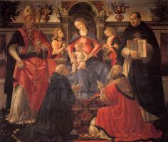 Доменико Гирландайо. Мадонна с младенцем на троне с ангелами и святыми