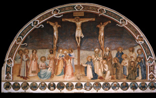 Fra Beato Angelico. Crucifix and saints. Fresco Hall of the Chapter of the Monastery of San Marco, Florence