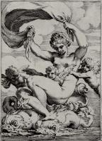 """Агостино Карраччи. Серия """"Сладострастие"""", Венера, или Галатея, плывущая на дельфинах"""