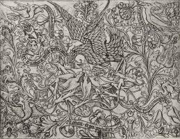 Израэль ван Мекенем Старший. Орнамент с пеликаном, кормящим птенцов