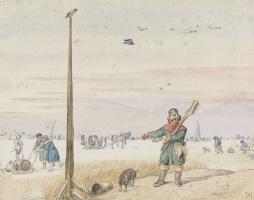 Хендрик Аверкамп. Охотник на уток с дичью на поясе