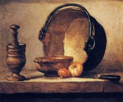 Жан Батист Симеон Шарден. Натюрморт со ступкой, чашей, медным котлом, луком и ножом