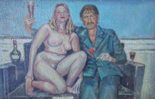Вячеслав Коренев. Self-portrait with wife