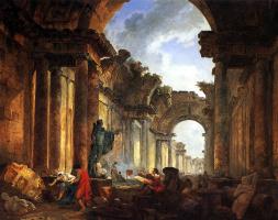 Hubert Robert. Imaginary view of the Grand gallery in ruins