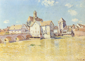 Alfred Sisley. Bridge at Moret in the morning sun