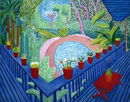 David Hockney. Red pots in the garden