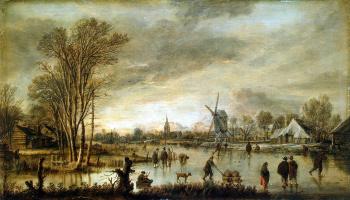 Арт ван дер Нер. Зимний вид на реке