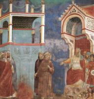 Джотто ди Бондоне. Святой Франциск перед султаном. Испытание огнем