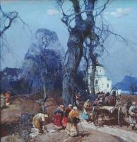 Степан Федорович Колесников (Одесский). Пейзаж с крестьянами