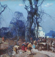 Stepan Fedorovich Kolesnikov (Odessa). Landscape with peasants