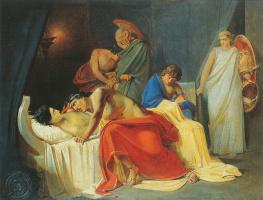 Nikolai Nikolaevich Ge. Achilles mourns Patroclus. Sketch of the same picture
