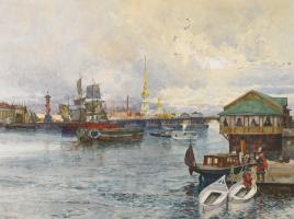 Franz Copallicus Austria 1860 - 1931. Boats on the Neva.