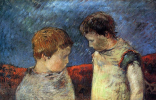 Paul Gauguin. Aline Gauguin and One of Her Brothers