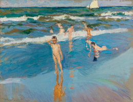 Joaquín Sorolla. Children in the sea. The beach in Valencia