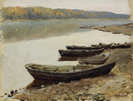 "Volga landscape. Boats on the shore. A sketch for the painting ""On the Volga"""