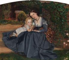 Артур Хьюз. Мать с ребенком в саду