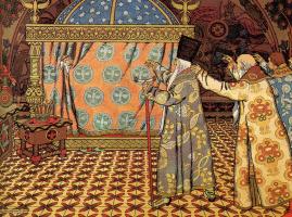 "Ivan Yakovlevich Bilibin. Awakening Dadona. Illustration to ""The Tale of the Golden Cockerel"" by A. S. Pushkin"