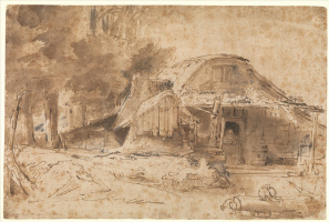 Rembrandt Harmenszoon van Rijn. Cottage near the Entrance to a Wood