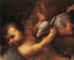 Леонардо да Винчи. Мадонна с младенцем (фрагмент)