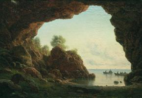 Лев Феликсович Лагорио. Вид из грота на море. 1870