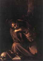 Michelangelo Merisi de Caravaggio. Saint Francis in meditation
