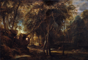 Питер Пауль Рубенс. Охота на оленей в лесу на рассвете