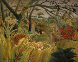 Анри Руссо. Тигр в тропическую бурю (Удивленный)