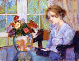 Бернхард Кутманн. Девушка перед вазой с цветами