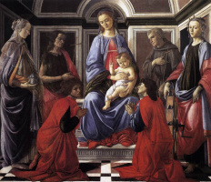 Sandro Botticelli. Madonna enthroned with the saints
