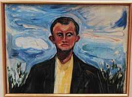 Edvard Munch. Self portrait on the background of blue sky