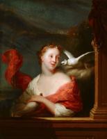 Годфрид Схалкен. Молодая женщина с голубем
