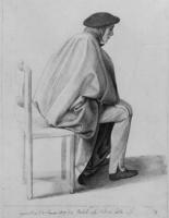 Юлиус Шнорр фон Карольсфельд. Сидящий Фридрих Овербек в белой накидке