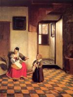 Питер де Хох. Женщина с ребенком на коленях и девочка с собакой