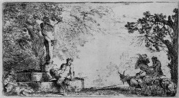 Джованни Бенедетто Кастильоне. Сатир, сидящий у подножия гермы