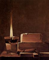 Жорж де Латур. Кающаяся Мария Магдалина.Фрагмент. Свеча и книги