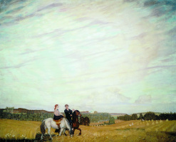 Boris Mikhailovich Kustodiev. The ride (self-Portrait with wife)