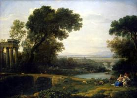 Желле Клод. Пейзаж со сценой отдыха на пути в Египет