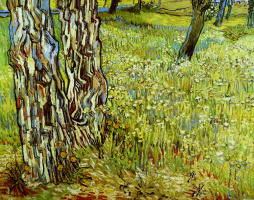 Vincent van Gogh. Pine trees and dandelions in the garden of the hospital of St. Paul