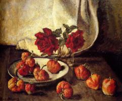 Илья Иванович Машков. Две темные розы и тарелка с клубникой