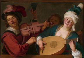 Геррит ван Хонтхорст. Весёлая группа за балюстрадой со скрипачом и лютнисткой