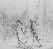 Петер фон Корнелиус. Фауст и Гретхен перед церковью