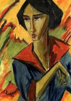 Карл Шмидт-Ротлуф. Портрет девушки с красным воротником