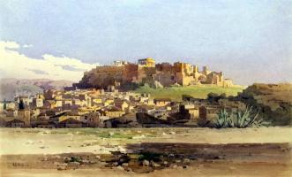 Ангелос Джаллина. Вид города у подножия холма с руинами Акрополя