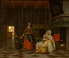 Pieter de Hooch. Nursing mother, the maid and the child