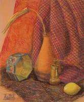 Лариса Луканева. Натюрморт с лимоном и сухим цветком