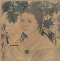 Борис Михайлович Кустодиев. Девушка с чашкой (Портрет Марии Шостакович)